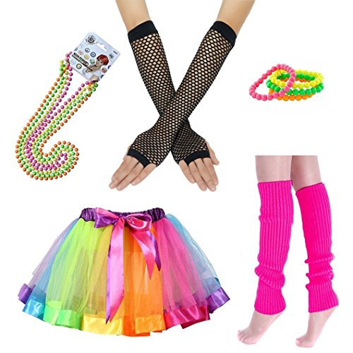 iLoveCos 80er Party Kleid Zubehör Regenbogen Neon Erwachsener Tutu Armbänder,Beinwärmer,Fischnetz Handschuhe,Fluoreszierende Perlenketten Halsketten,80s Fancy Dress Mädchen Fraue Night Out - 80's Night Kostüm