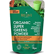 Next Gen U | Organic Super Greens Powder 150g | Featured in The Vegan Magazine | Free eBOOK On Purchase | Vegan Green Smoothie Supplement | Energy Boost | Over 20% Protein | 9 High Quality Superfoods