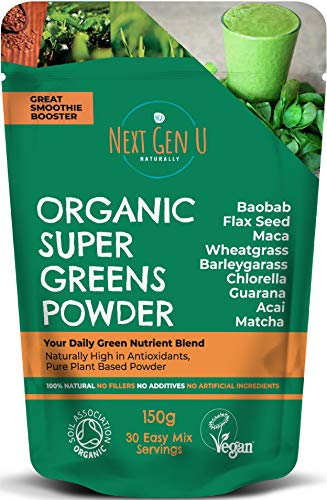 Next Gen U | Green Superfood Smoothies Grünes Pulver 150g | Vegan Green Detox Nahrungsergänzungsmittel | Gesundes Powerfood | Über 20{b0d52a73390c7944dcf54dc0d8fb31e70c0f8cbeb53c22798734ec31adcc05ec} Protein | Acai Chlorella Matcha Maca | Fokus & Immunsystem Schutz