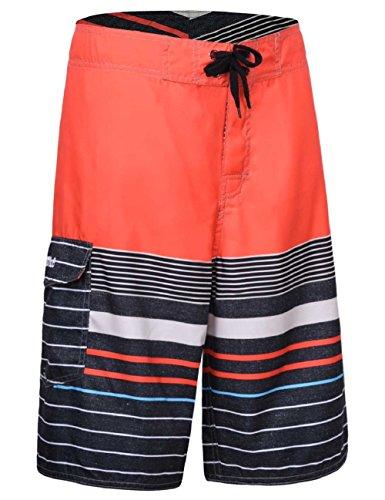 Nonwe Herren Streifen Gerade Leichte Strand Shorts mit Futter Orange