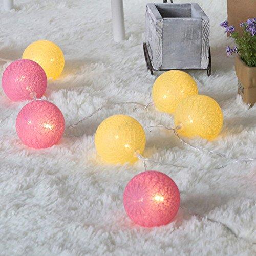 tte mit Kugeln, 6CM Baumwollkugeln Mit Bällen Deko Licht Festlich Hochzeiten Geburtstag Party Cotton Ball Themen Weihnachten Lichterkette Dekorative (1.8m / 10 Lichter, Rosa Gelb) ()