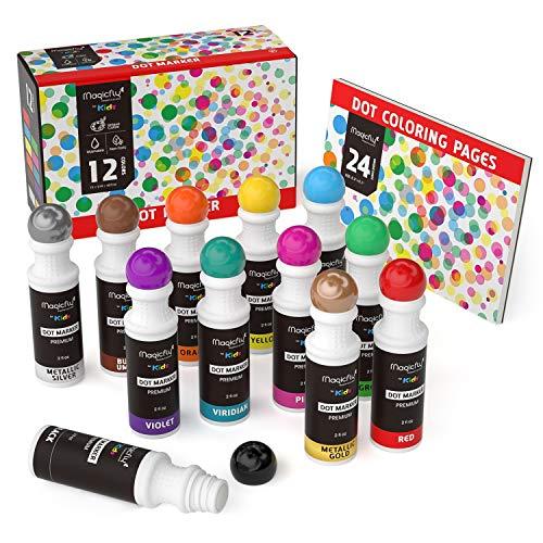 Waschbare Marker, Magicfly 12 Farbige Bingo Marker Dot Dabber für Kinder mit zusätzlichem Malbuch, ungiftiger Dauber Marker Perfekt für die Kinder in der Vorschule, Kindergarten