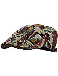 WITHMOONS Coppola Cappello Irish Gatsby Meshed Aztec Tribal Pattern Linen  Newsboy Hat Flat Cap LD3044 d74c023d460a