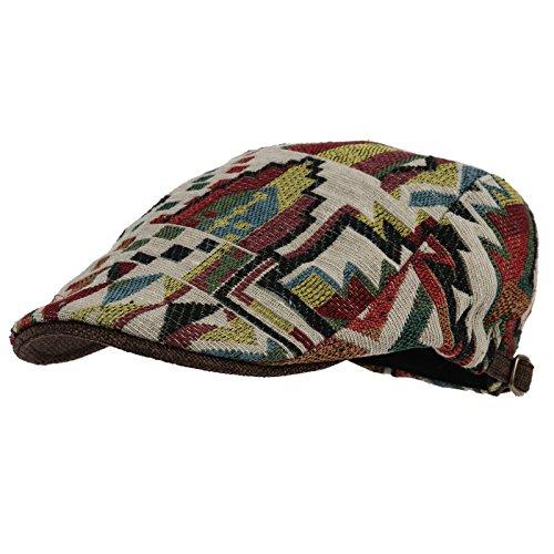 WITHMOONS Coppola Cappello Irish Gatsby Meshed Aztec Tribal Pattern Linen Newsboy  Hat Flat Cap LD3044 ( 9b5c2eabbc7e