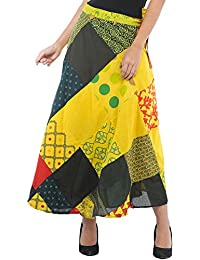 Exotic India Wrap-Around Long Skirt With Printed Patch-work - Color Empire YellowGarment Size Free Size