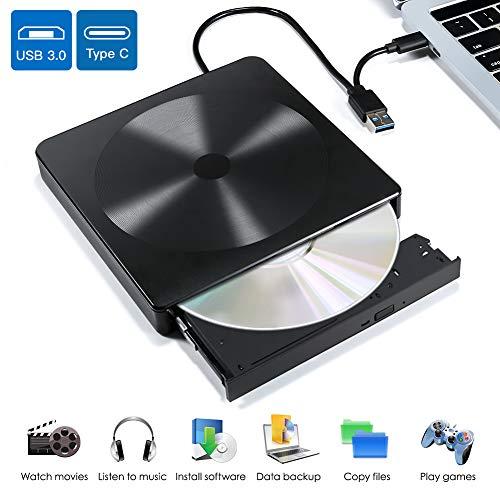 Externes DVD Laufwerk, VOLADOR Externes CD/DVD Laufwerk Brenner USB 3.0 und Typ-C Schnittstelle, Tragbar CD DVD Laufwerke für Laptop, Desktop, Kompatibel mit WIN98/7/8/10/XP, Vista, Mac os 8.6
