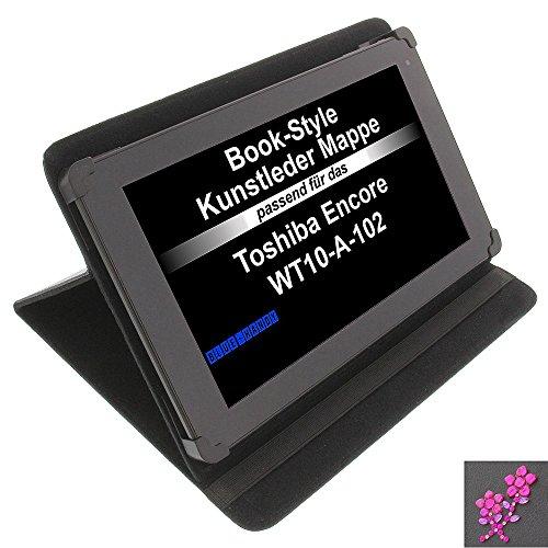 Tasche Strass Blume für Toshiba Encore WT10-A-102 Excite AT10-A-104 Book Style Schutz Hülle Buch schwarz