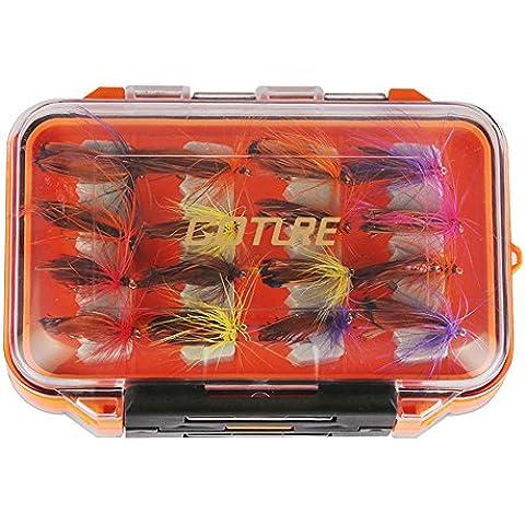goture Fly Esche da Pesca con 2lati impermeabile pesca scatola per trota bass salmone mosche Floating assortimento, 2 Sides open 2# 32pcs/set