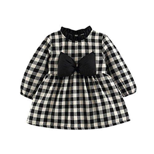 iedlichen Kleinkind Baby Mädchen Elegant Plaid Bowknot Langarm Prinzessin Kleid Festlich Partykleid warme Dicke Winter Mantel Kleider (Schwarz, 80) (Elegante Baby-mädchen-kleider)