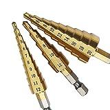 3Pcs HSS Bohrer Sechskantschaft Hexagonal Bohren Loch Lochplatte Eisen Holz 4-12/4-20/3-12mm