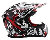 Römer Helmets Crosshelm im Stylischen Design mit Sonnenblende - MX- Enduro -ATV - Offroad - Quad, Schwarz, Rot, Weiß Dekor, Größe M