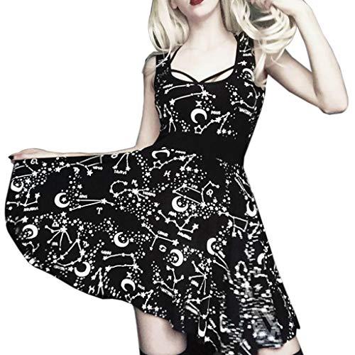 Vestido Mujer Verano 2019 Street Street Vestido De Estilo Gótico Negro para Mujeres Vestido Retro Vintage Sin Mangas De Luna Falda Mujer Verano Vestido Mujer Primavera Falda Larga Mujer