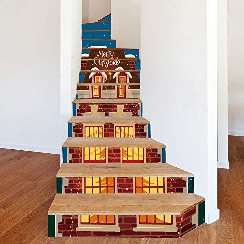 13 Teile/Set weihnachten Dress Up Treppen Beleuchtet Helle Kabine Treppen Dekorative Wandsticker 18CM*100CM