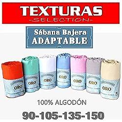 Sábana Bajera Ajustable 100% Algodón TEXTURAS ORO Cama 135 (BLANCO)