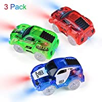 Miavogo Magic Track Cars 3 Pack - Replacement Light Up Track Car Toys with 5 LED Flashing Lights, Accessories Compatible with Most Tracks for Ages 3 4 5 6 7 Kids