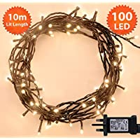 Christmas Lights 100 LED 10m Warm White Indoor/Outdoor Fairy Lights String Tree Lights Festival/Bedroom/Party Decorations Memory Mains Powered 32ft Lit Length 3m/9ft Lead Wire Green Cable