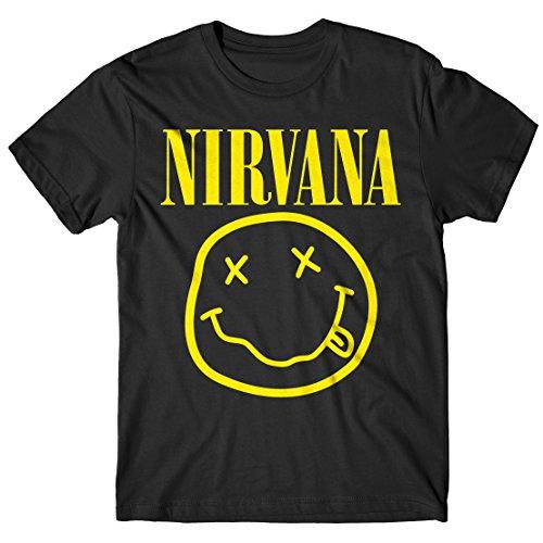 T-shirt Uomo Nirvana - Maglietta 100% cotone LaMAGLIERIA,M, Nero
