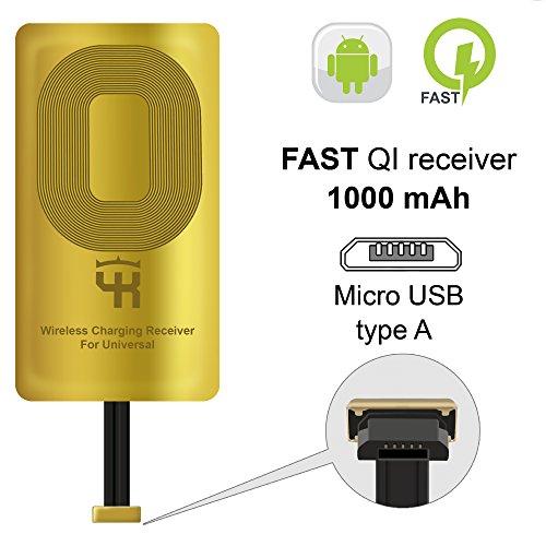 QI Empfänger Type A für Samsung Galaxy J7 - J8 - J3 - J6 - S5 - LG V10 - LG Stylo 2-3 -Plus - Wireless Charging Empfänger - QI Receiver Adapter Samsung - Wireless Charging Receiver Adapter