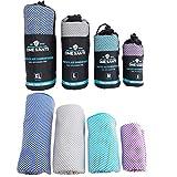 ONE SANTI Bambus Reisehandtuch mit Tasche - klein, leicht & schnelltrocknend - farbecht, fusselt & klebt Nicht - Dein Sport-, Strand- & Bade-Handtuch [4 Größen/4 Farben]