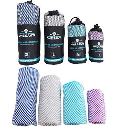 ONE SANTI Bambus Reisehandtuch - Ultraleicht, Extrem saugfähig, Antibakteriell & Schnelltrocknend -Angenehmer als Mikrofasertücher - Sport-, Reise-, Trekking- & Badetuch