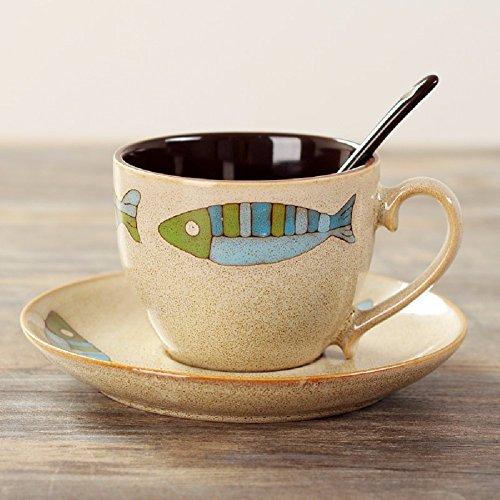 ZHGI Dipinte a mano e tazze di ceramica tazzine e piattini tuta tazze creative contratta (Pesce Tumbler)