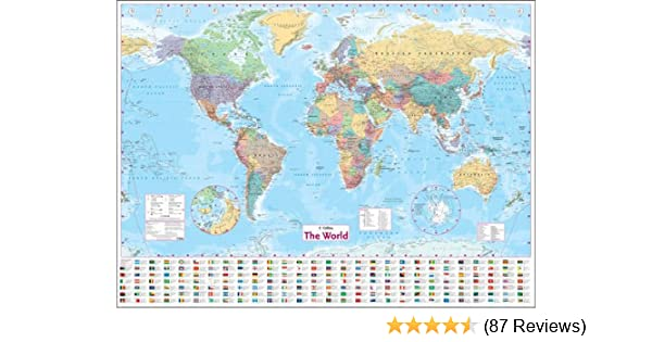 Collins world wall laminated map wall map amazon collins world wall laminated map wall map amazon harpercollins 9780007326884 books gumiabroncs Image collections