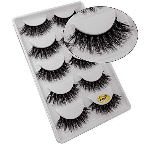 SMILEQ® 5 Paar Make-Up 3D Natürliche Dicke Falsche Wimpern Erweiterung (5 Paar, D)