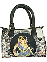 Chelsey Chelsey White And Black Abstract Printed Speedy Stylish Handbag For Women And Girls