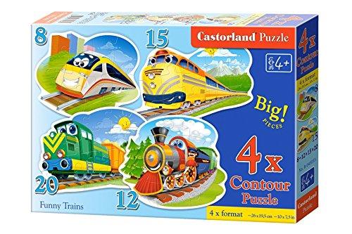 Castorland B043033 - Funny Trains, 4x Puzzle, 8+12+15+20 teile