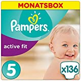 Pampers Premium Protection Active Fit Windeln, Gr. 5 Junior (11-23 kg), Monatsbox, 1er Pack (1 x 136 Stück)
