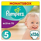 Pampers Active Fit Windeln,Gr.5, Junior 11-23kg, Monatsbox, 1er Pack (1 x 136 Stück)