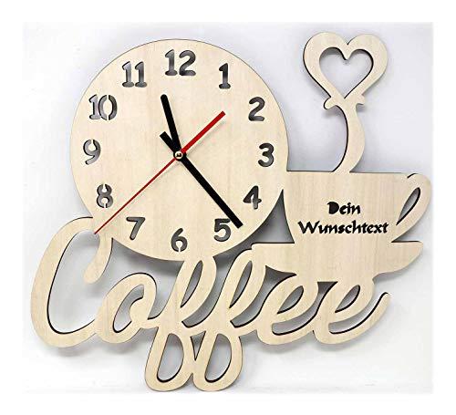 Kaffee Coffee Design Wand Uhr Küche Wohnzimmer Wandtattoo Holz Geschenk Deko Personalisiert Farbe - Wand-uhr Personalisierte