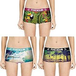 Freegun Lot de 3 Boxers Shorty Femme (M, Ocean)