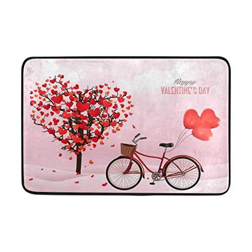 e 's Day Love Herz Heart Baum Tree Bike Fußmatte Indoor Outdoor Entrance Unterlegmatte Badezimmer 59,9x 39,9cm ()