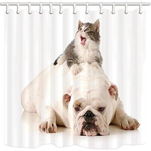 Tier-Duschvorhang-nettes Haustier-Katze auf weißem lustigem Pitbull-Hundefreundschaft-Kreativitäts-Match Mehltau-beständigem Polyester-Gewebe-wasserdichtem Badezimmer-Duschvorhang-Set mit Haken 70.8X70.8in (Pitbull Dusche)