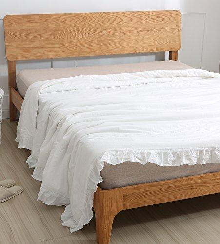 Meaning4 Weiße Bettbezug Deckenbezug Bettwäsche mit Saum Rüschen Baumwolle 220 x230 cm König-Größe (Bettbezug Bettwäsche König Weiß)