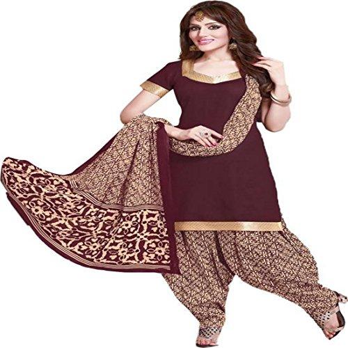 REYA Women's Crepe Printed Unstitched Salwar Suit (Crp_5006_Maroon_Free Size)
