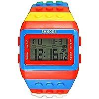 v_esafe Unisex Jungen mädchen LED Regenbogen elektronische sportuhren multifunktionale silikonband armbanduhren Student Geschenk (F)