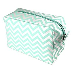 Chevron Make Up Cosmetic Tote Bag Carry Case (Mint)
