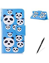 MAGQI HUAWEI P9 Lite PU Premium Leather Phone Cases, Flowers Panda Unicorn Cartoon Pattern Design Cover and [Scratch Proof] Flexible For HUAWEI P9 Lite Flip Wallet Shell-Cute Panda