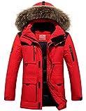Menschwear Herren Winter Warme Jacke Daunenjacke Langarm Parka Abnehmbarer Kapuze-Pelzkragen (XL,Rot)