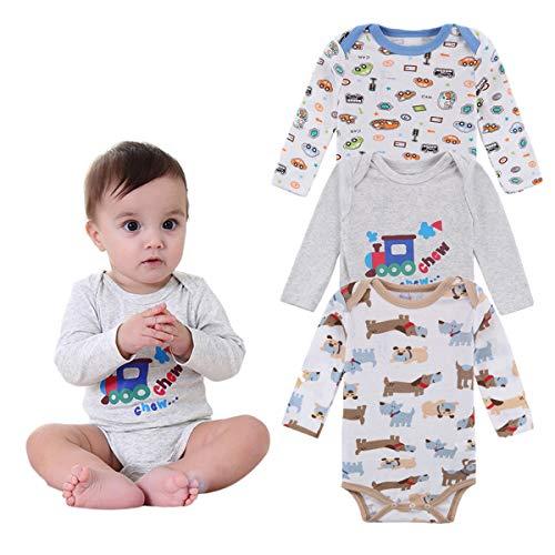 XWQYY Baby Body Set 2 Jungen/Mädchen - Unisex Kurzarm Weiß Body Set-Neugeborene Kleidung,Grey-0~3Months