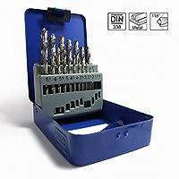 S & R punte trapano per metallo impostato 19 pezzi, 1,5 - 10 mm, 118 °, serie GM, DIN 338, HSS- Acciaio, scatola di metallo, Profi-qualità