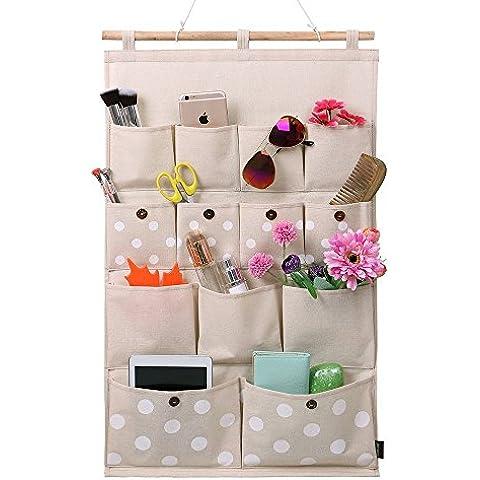 Tela de algodón de lino Homecube/13 bolsillos de pared puerta armario colgando bolsa de almacenamiento organizador (Punto de la