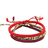 LuckyBuddhist Pulsera budista tibetana de la Suerte, anudada a Mano (Orange) (3 Bracelets)