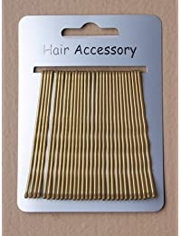 2 tarjetas con 60 horquillas extra largas doradas totalmente nuevas en dorado