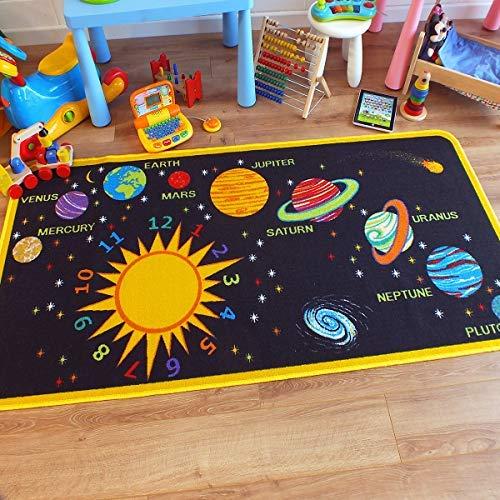 The Good Rug Company Superbe tapis pour enfants Tapis de jeu éducatif sur le thème du système solaire 100 cm x 200 cm