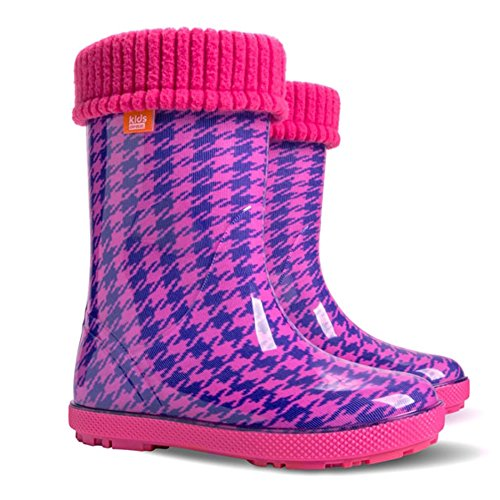Baby Wellington Boots Kids Rainy Wellies Shoes UK All Sizes - Check Pink