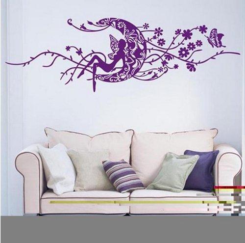 Gran Hada y luna flores de vid adhesivo de pared salón pegatinas vinilo extraíble color morado ancho 150cm de alto 50cm