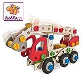Eichhorn 100039085 - Constructor Feuerwehrauto, 155 tlg., Holz-Konstruktions-Set, 3 verschiedene Modelvarianten baubar, FSC 100% Zertifiziertes Buchenholz, Made in Germany